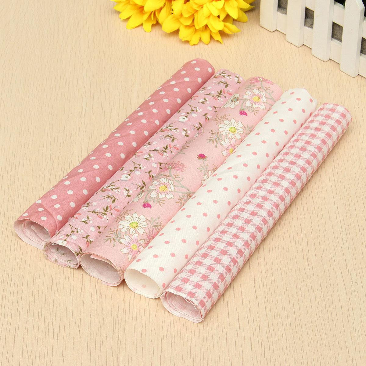"Dollhouse Naaien 5 Roze Assorted Pre Cut Charm 10 ""Squares Quilt Katoenen Doek Fabric Craft"