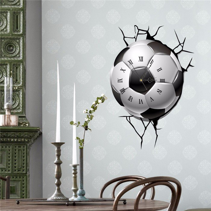 PAG STICKER 3D Wall Clock Decals Voetbal Voetbal Cracking Wall Sticker Home Decor Gift