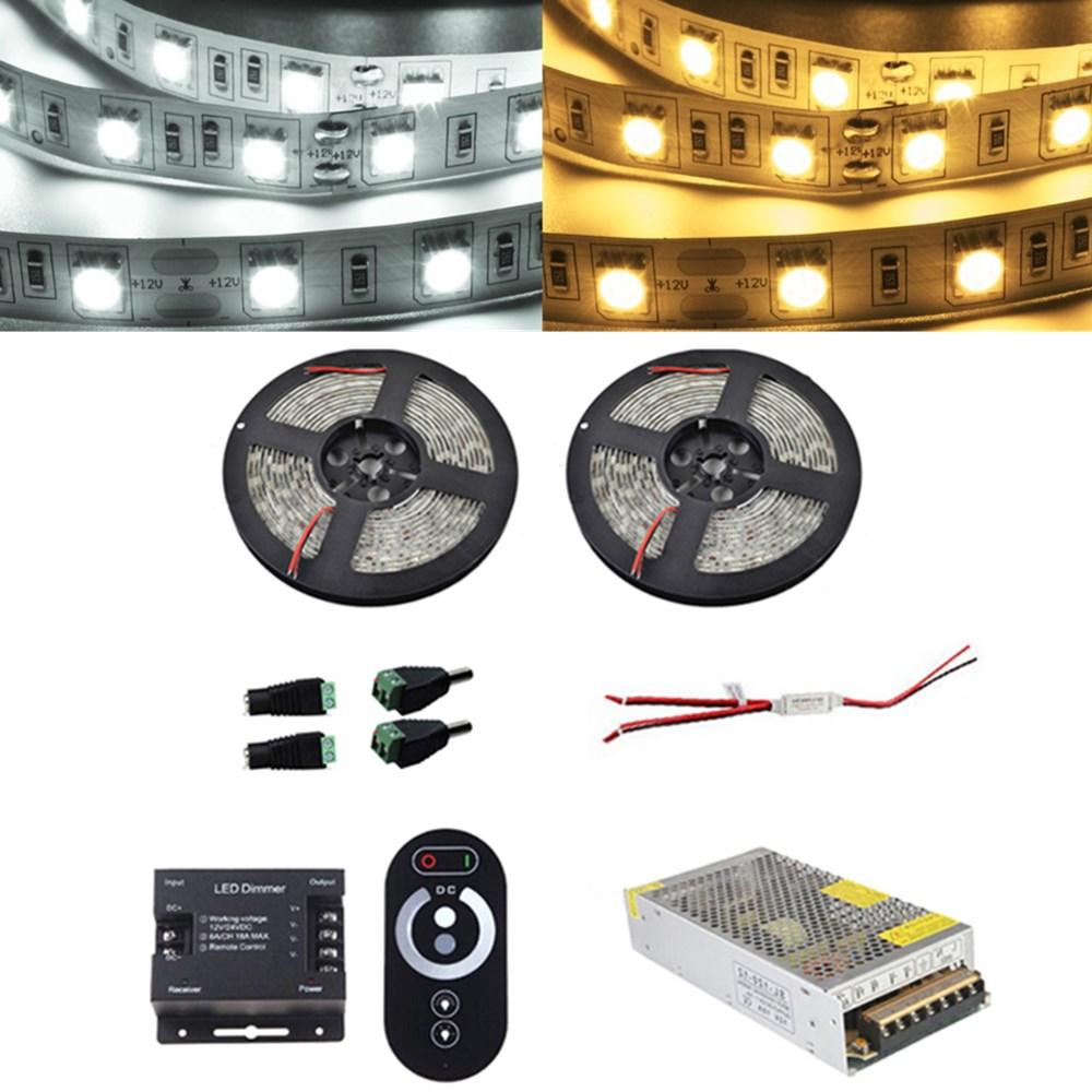 ZX 2PCS 5M SMD 5050 Non-waterproof LED Strip Light RF Touch Controller+Power Adapter Kit DC12V