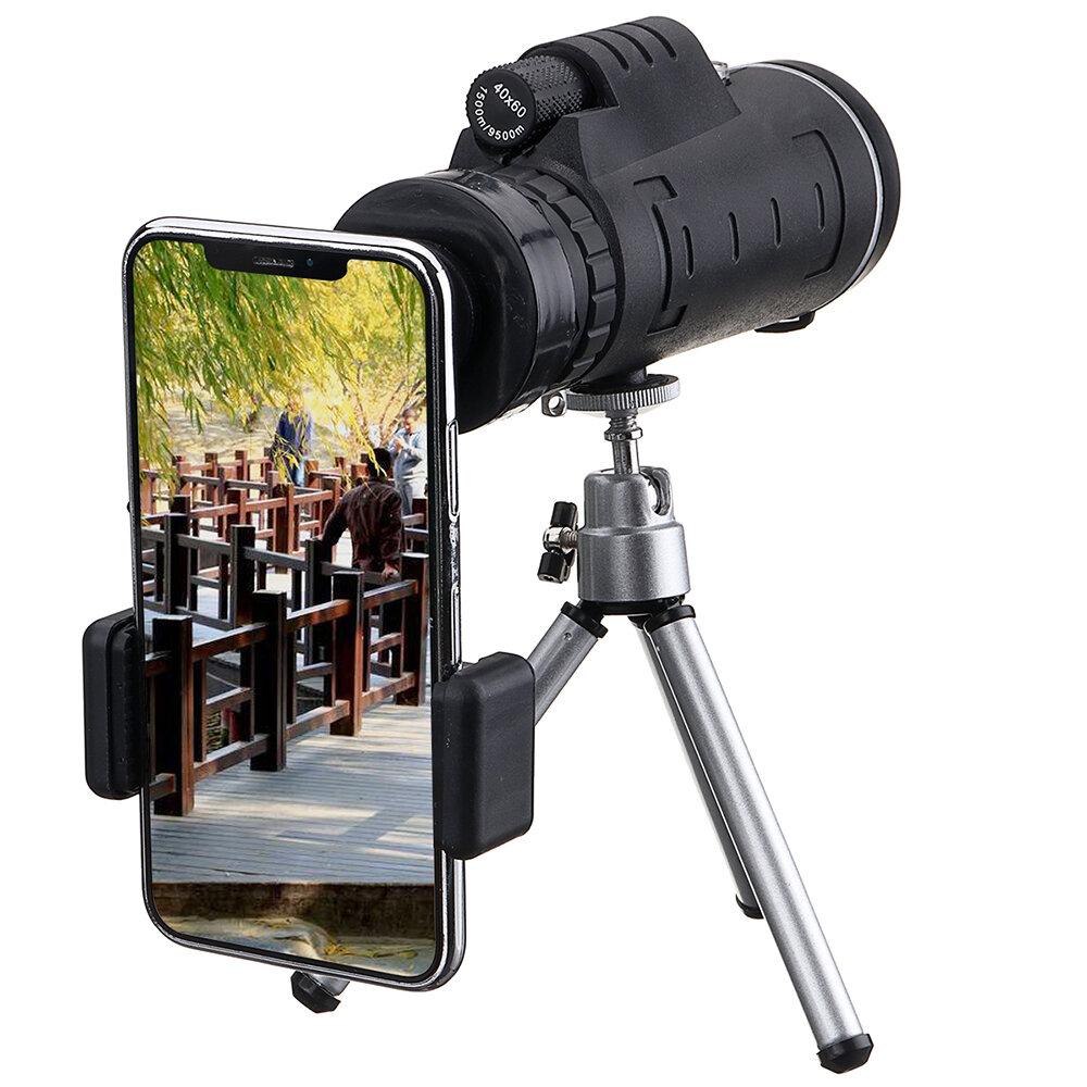 IPRee® 40X60 Monocular Optical HD lente Telescopio + treppiede + clip per telefono cellulare