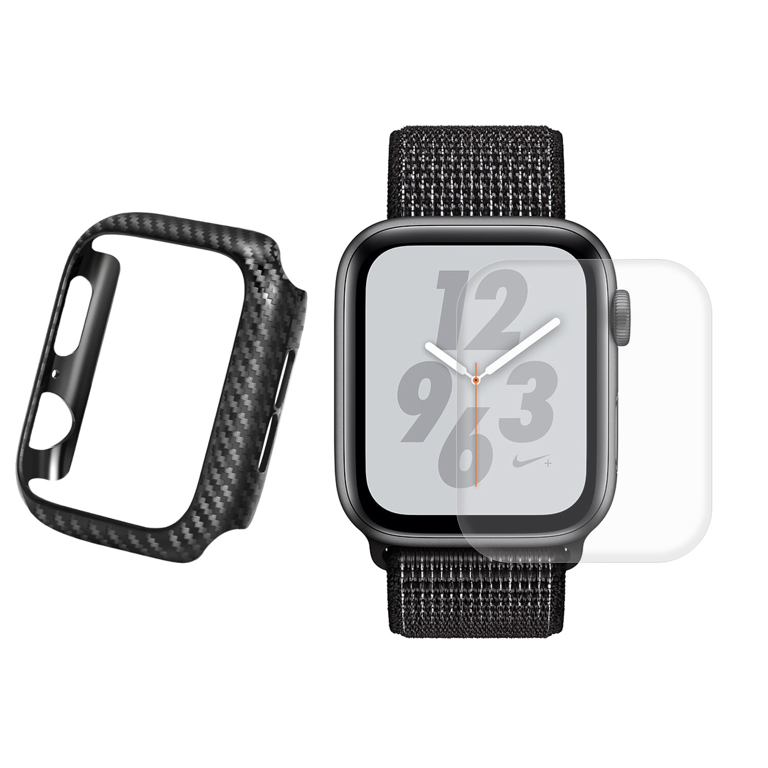 Enkay Carbon Fiber Watch Cover+3D Curved Edge Hot Bending Watch Screen Protector For Apple Watch Series 4 44mm