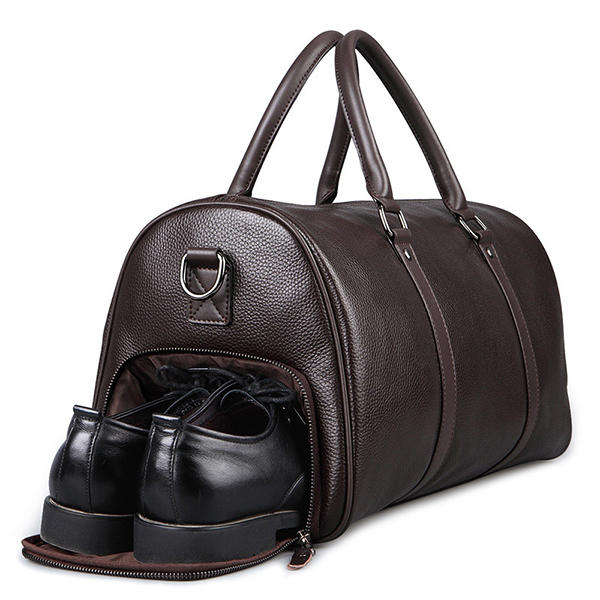 Men Leather Business Handbag Multifunction Large Capacity Travel Bag with Shoes Compartment