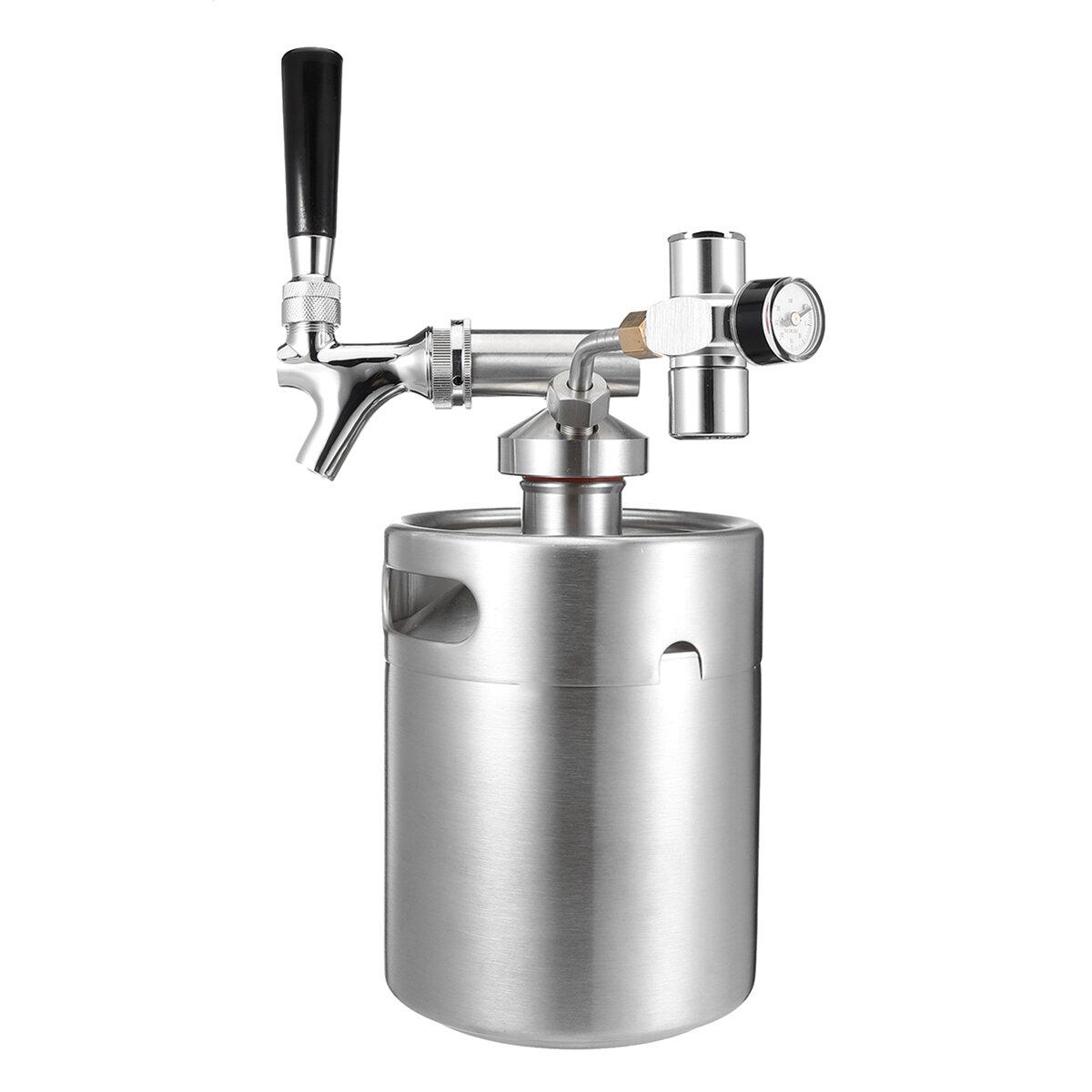 KCASA KC-BK8 4L / 2L de aço inoxidável 304 Beer Mini Keg Homebrew Keg Mini CO2 Regulador Torneira de pressão de ar Faucet Can Red Wine Brewing Bottle