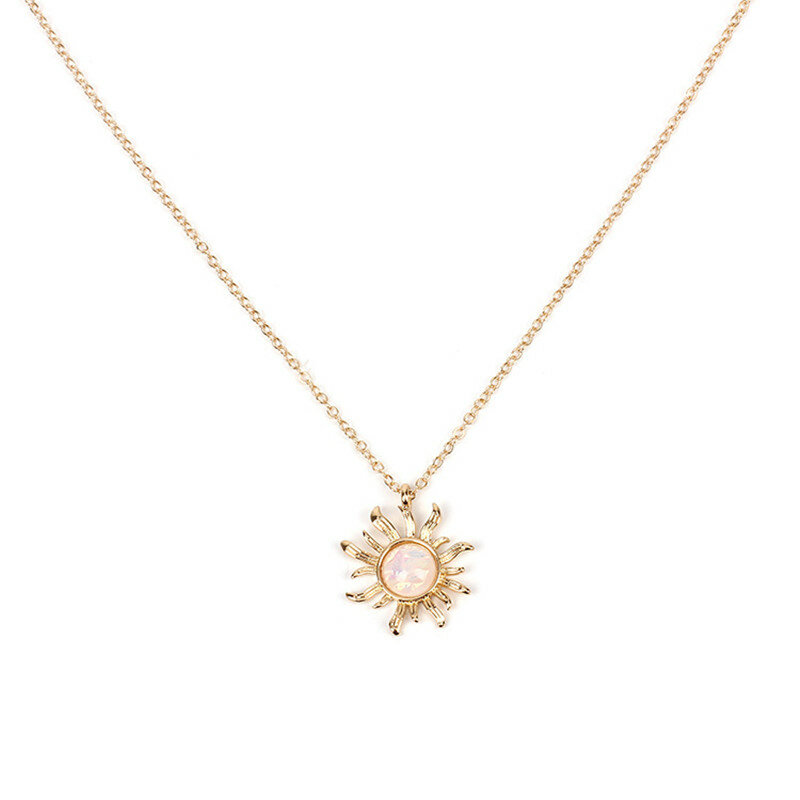 Fashion Silver Gold Sun Flower Pendant Necklace Opal Chain Statement Necklace for Women