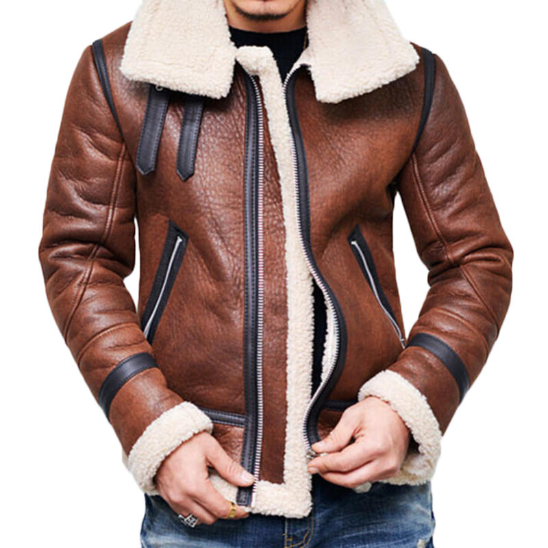 Mens Faux Leather Jacket Fleece Lining Winter Thickened Warm Shearling Coat