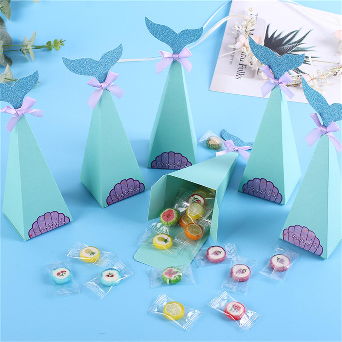 20Pcs/Set Little Mermaid Gift Boxes Paper Sweet Candy Container Kids Birthday Wedding Party Decorations