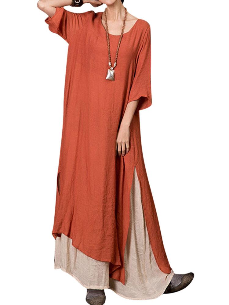 Plus Size Vintage Dames Losvallende splicing lange jurk
