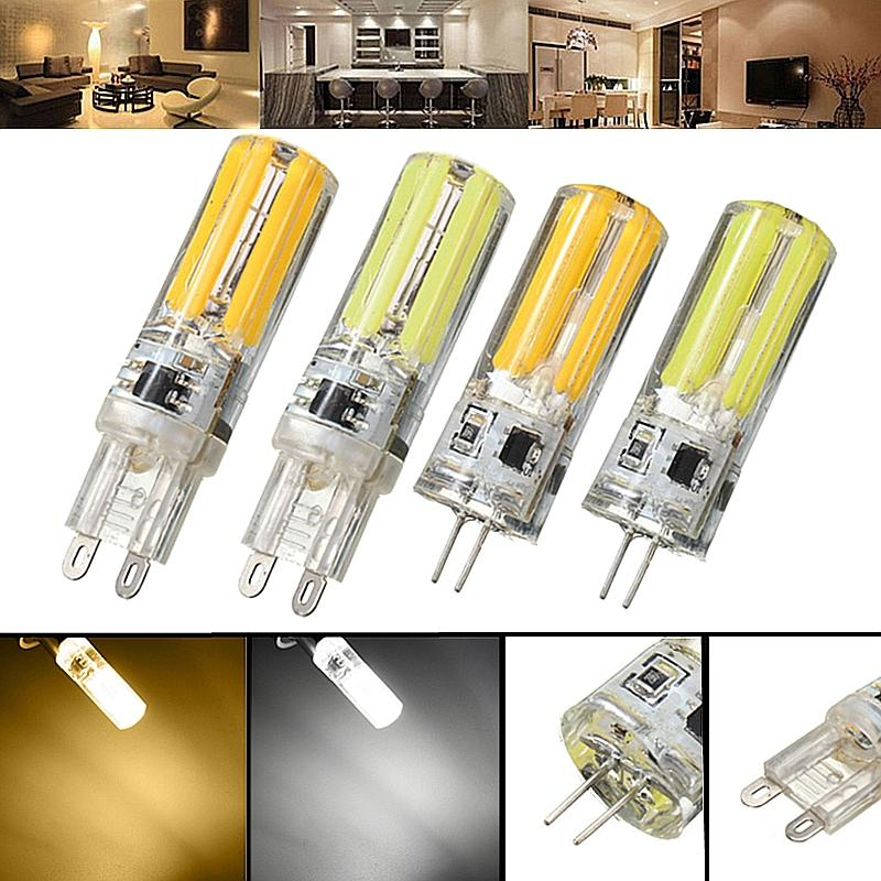 Dimmable G4 G9 5W Silicone Blanc chaud Blanc pur LED COB Lustre Ampoule Lampe AC220V