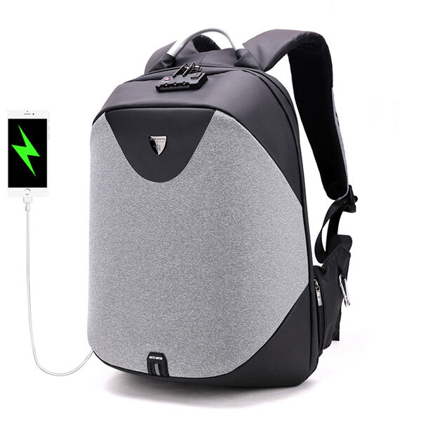 Men Antitheft Backpack 5in Laptop Business Backpack with Costoms Lock & USB Charging Port