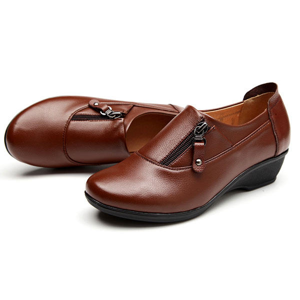 US Size 6-12 Big Sze New Women Soft Comfortable Casual Leather Wedge Heel Fashion Slip-On Shoes