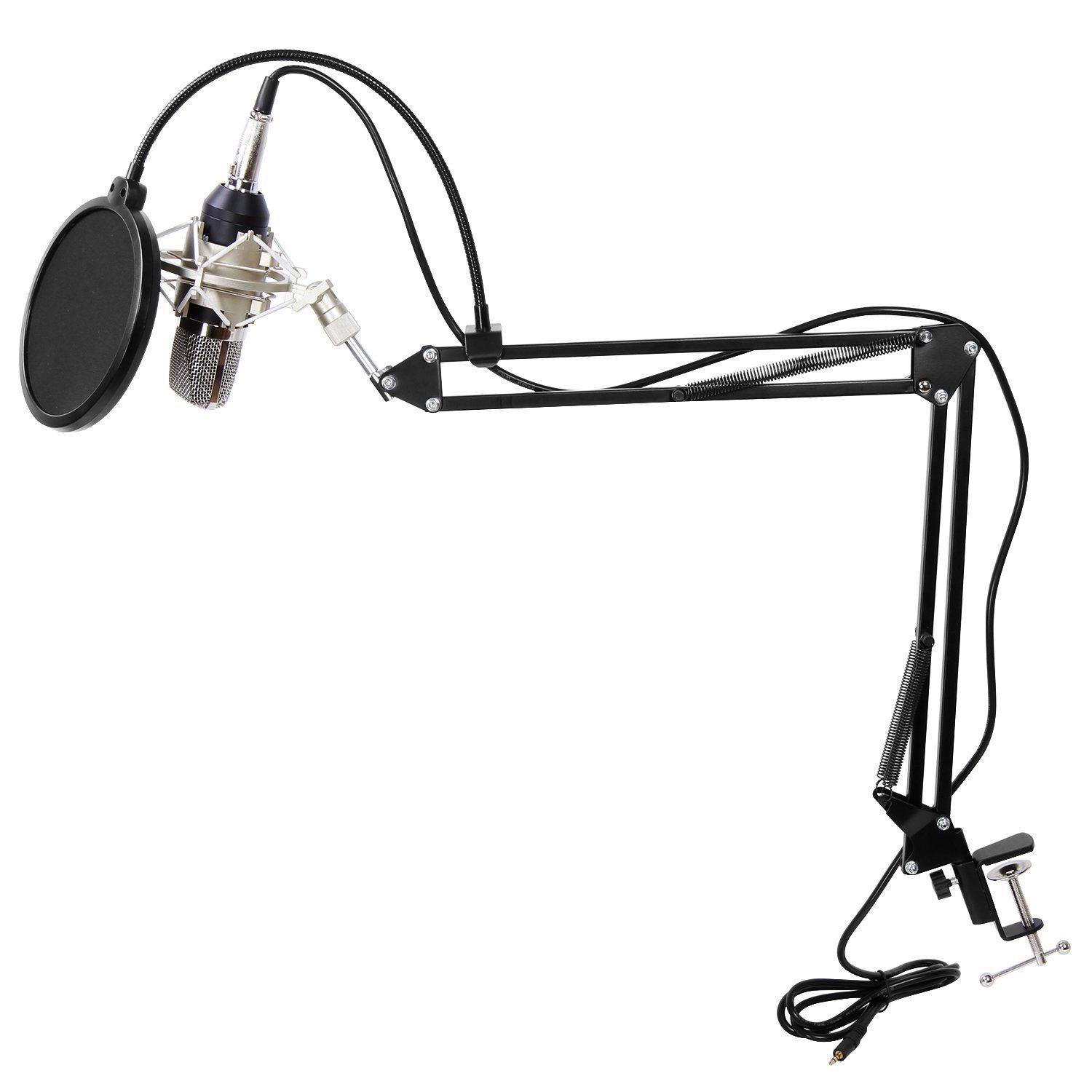 Podcasting Condenser Microphone with Anti Vibration Shock Mount Stand