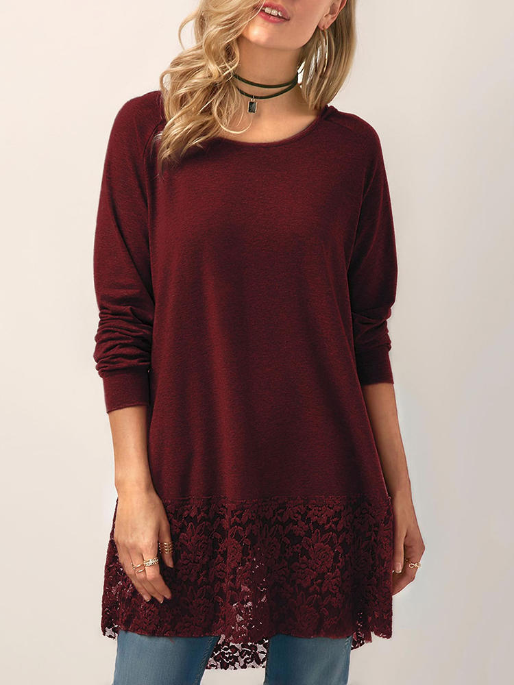 Women Solid Color Hollow Lace Patchwork Crew Neck Long Sleeve Blouse