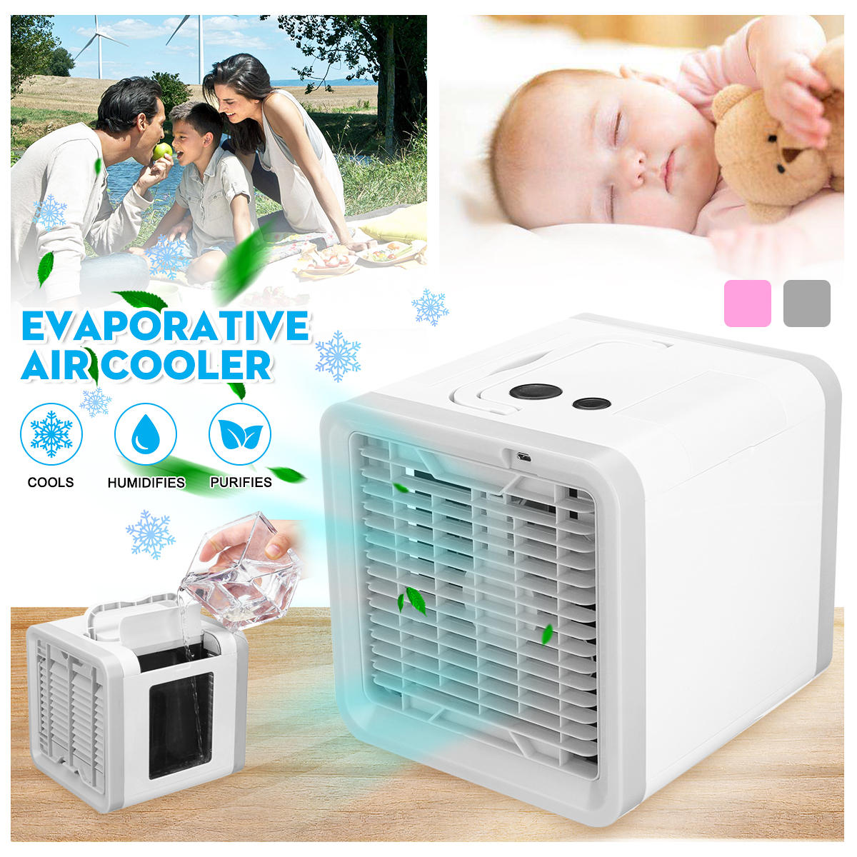 Portable Cooler Cooling Fan Mini Air Conditioning Fan Water Cooling Humidifier Available Battery