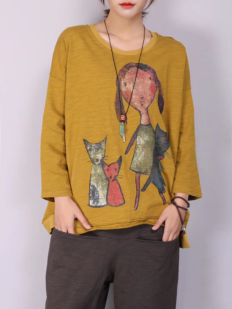 M-5XL Cartoon Cat Print Long Sleeve Loose Casual T-shirts for Women