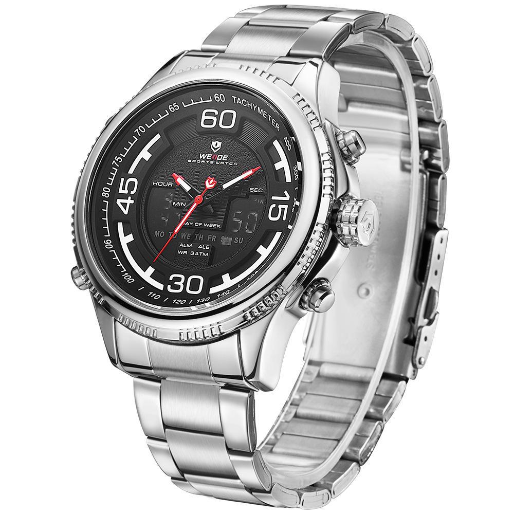 WEIDE 6306 Dual Display Digital Watch Alarm Calendar Luminous Display Stainless Steel Sport Watch