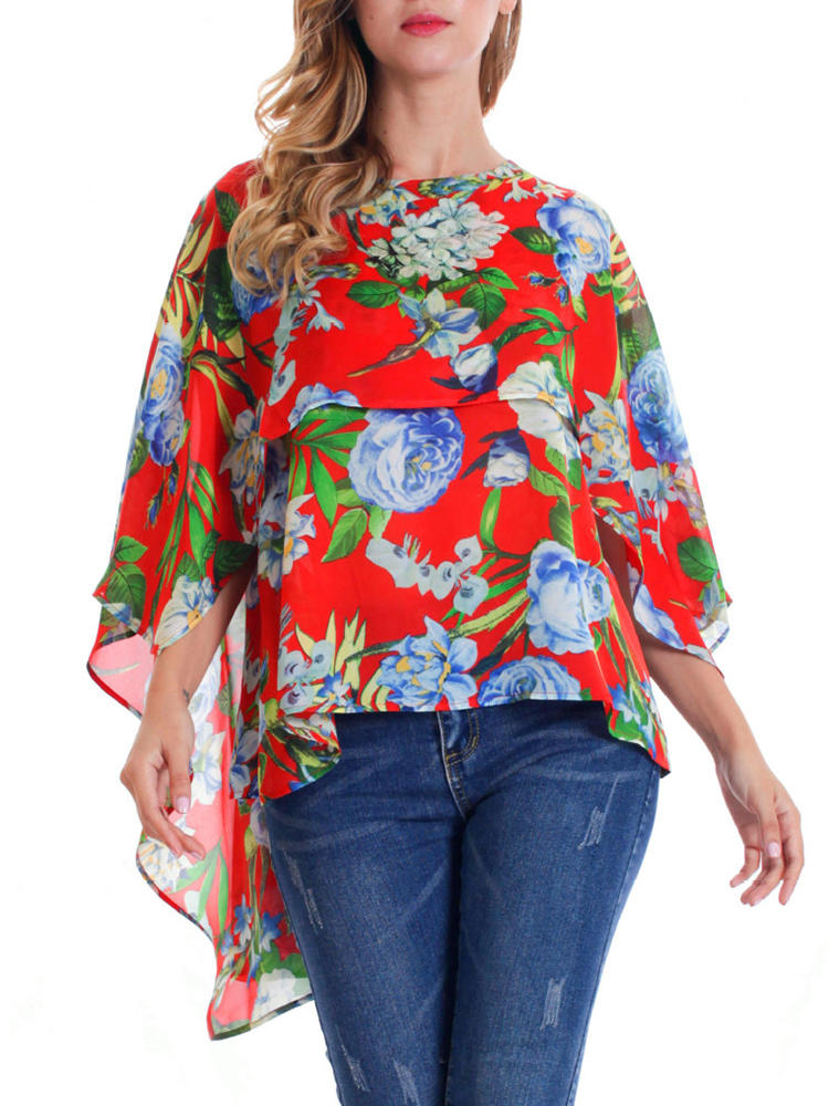 Women O-neck Floral Print Batting Sleeve Irregular Blouse