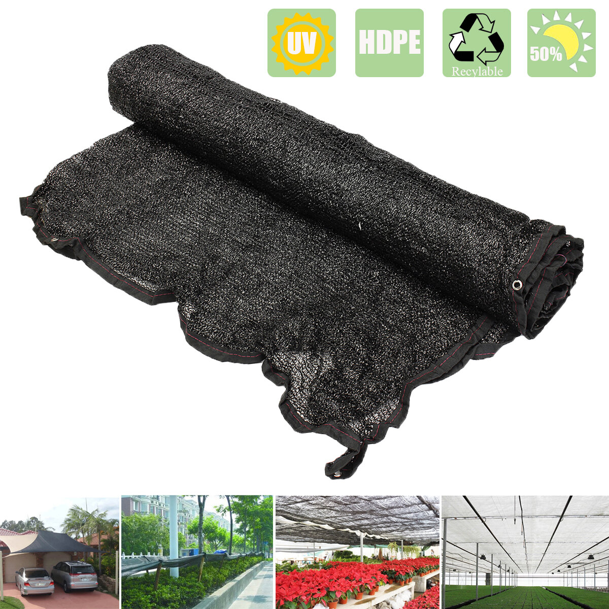 78.7x23inch Agfabric 50% Sun Block Shade Cloth Têxtil de tecido resistente a UV 6 1 / 2x20ft