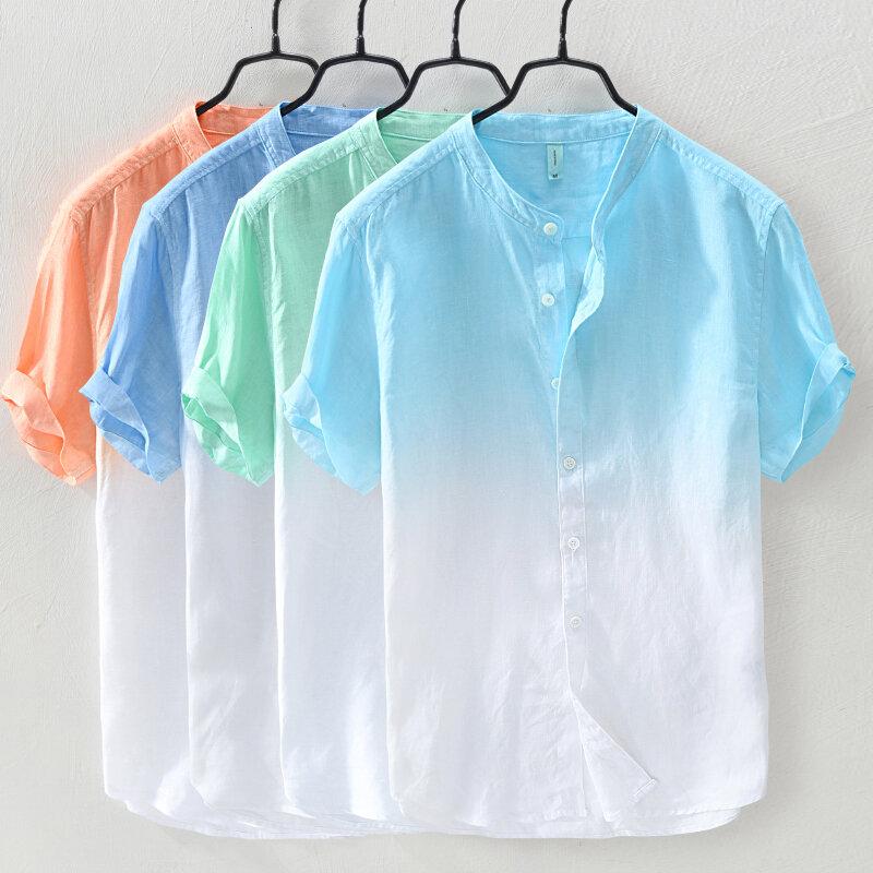 メンズグラデーションカラー夏トレンディコットン通気性ルーズカジュアルTシャツ
