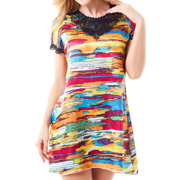 Women Stain Short Sleeve Sleepwear Colorful Printing Lace Comgfort Soft Nightdress