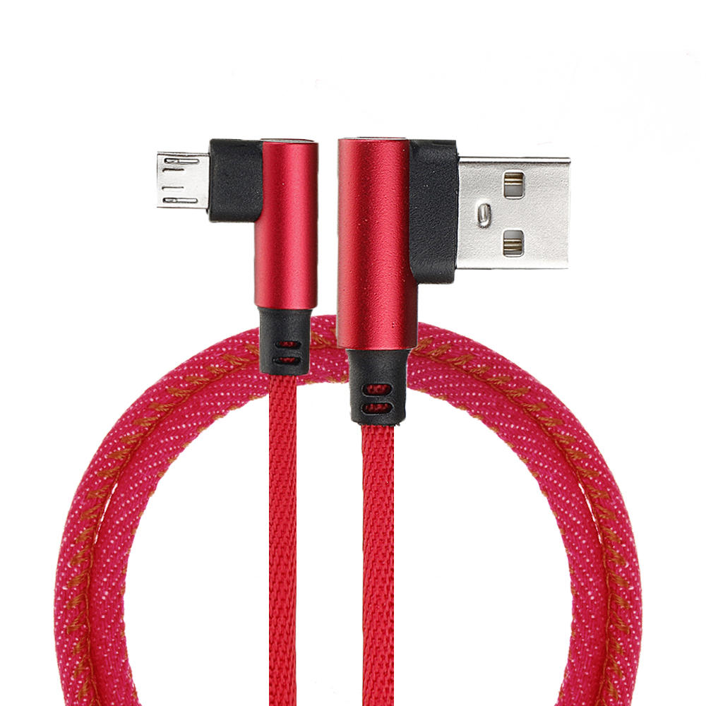 2M 90 Degree 2.4A Fast Charging Nylon Braided Data Cable For Smartphone Tablet