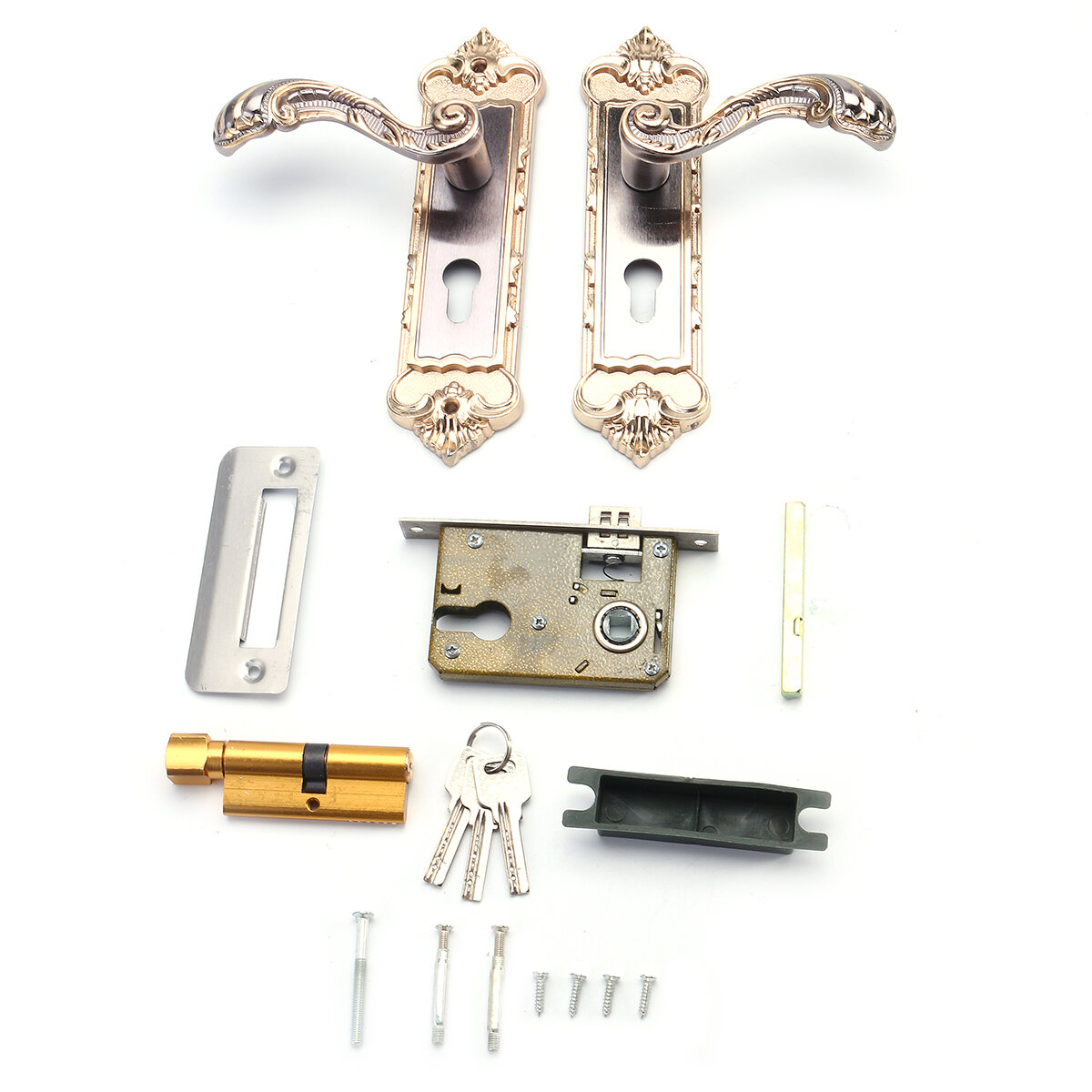 Mechanical Interior Door Handle Cylinder Lock Lever Latch Home Security Set