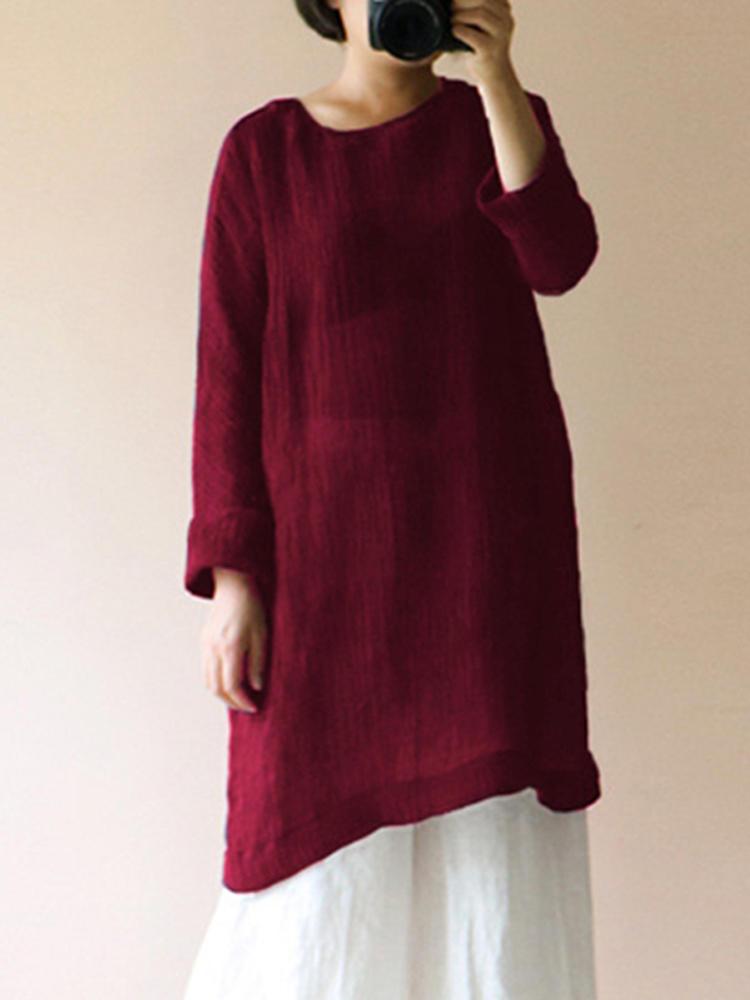 Celmia Women Vintage Cotton Linen Long Sleeve Loose Blouse