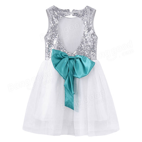 Kid Girls Sequins Bowknot Backless Party Dress