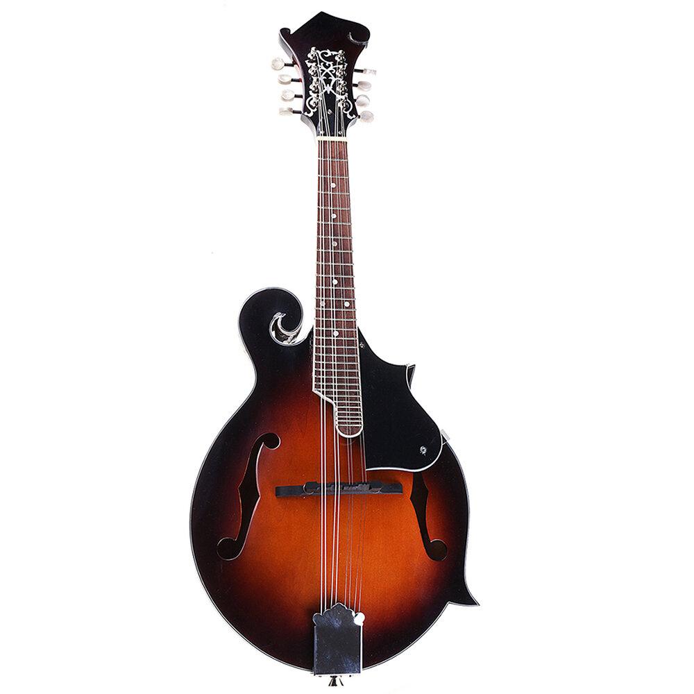 Classic Sunburst F Modle 24 Frets 8 String Paulownia Madeira Bandolim Com Caso