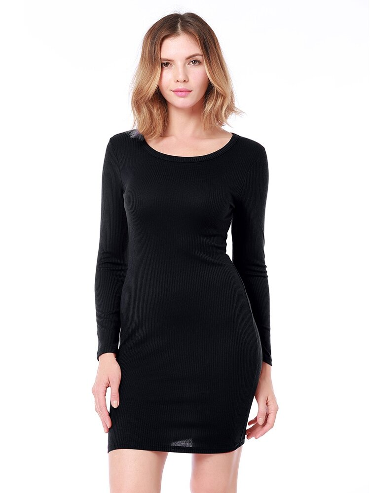 Pure Color Knit Long-sleeved Slim Hip Dress