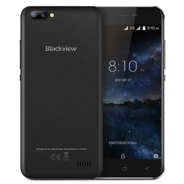 Blackview A7 5.0-Pouces Android 7.0 1GB RAM 8GB ROM MT6580A Quad-Core 1.3GHz 3G Téléphone intelligent