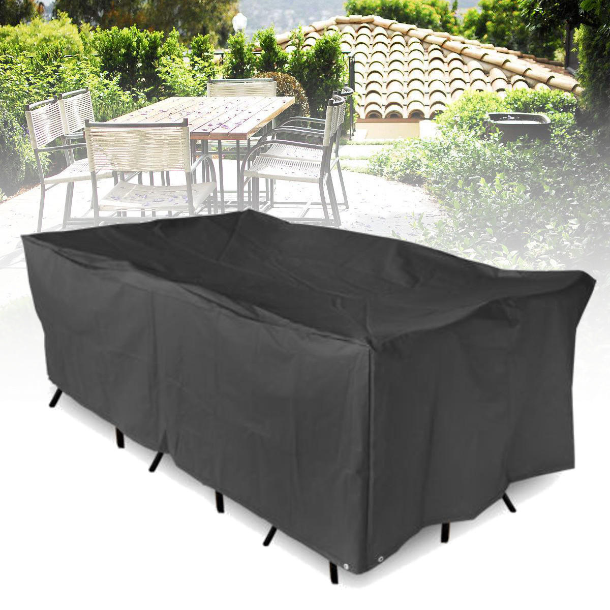 Outdoor Furniture Waterproof Cover Garden Patio Table Chair Rectangular Shelter Anti-UV Dust Protector