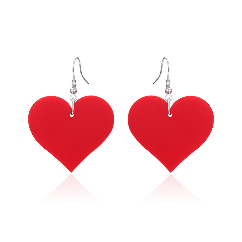 Sweet Women Earrings Black White Red Heart Acrylic Pendant Earrings Gift for Her
