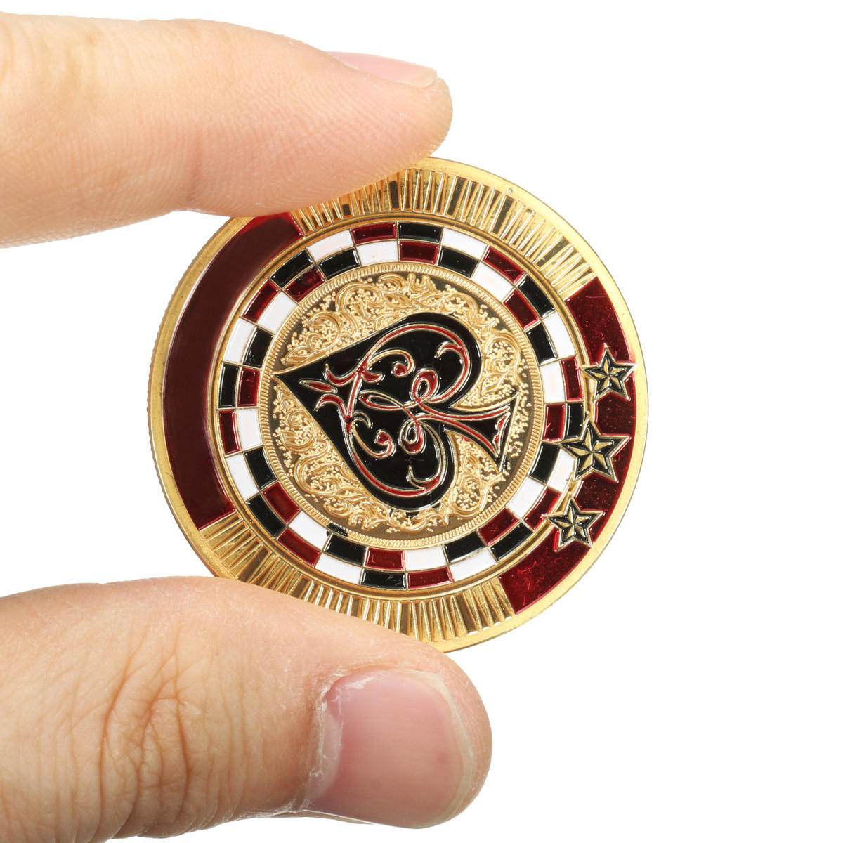 Metal Poker Guard Card Gold Plated With Round Plastic Case Protector Coin Chip