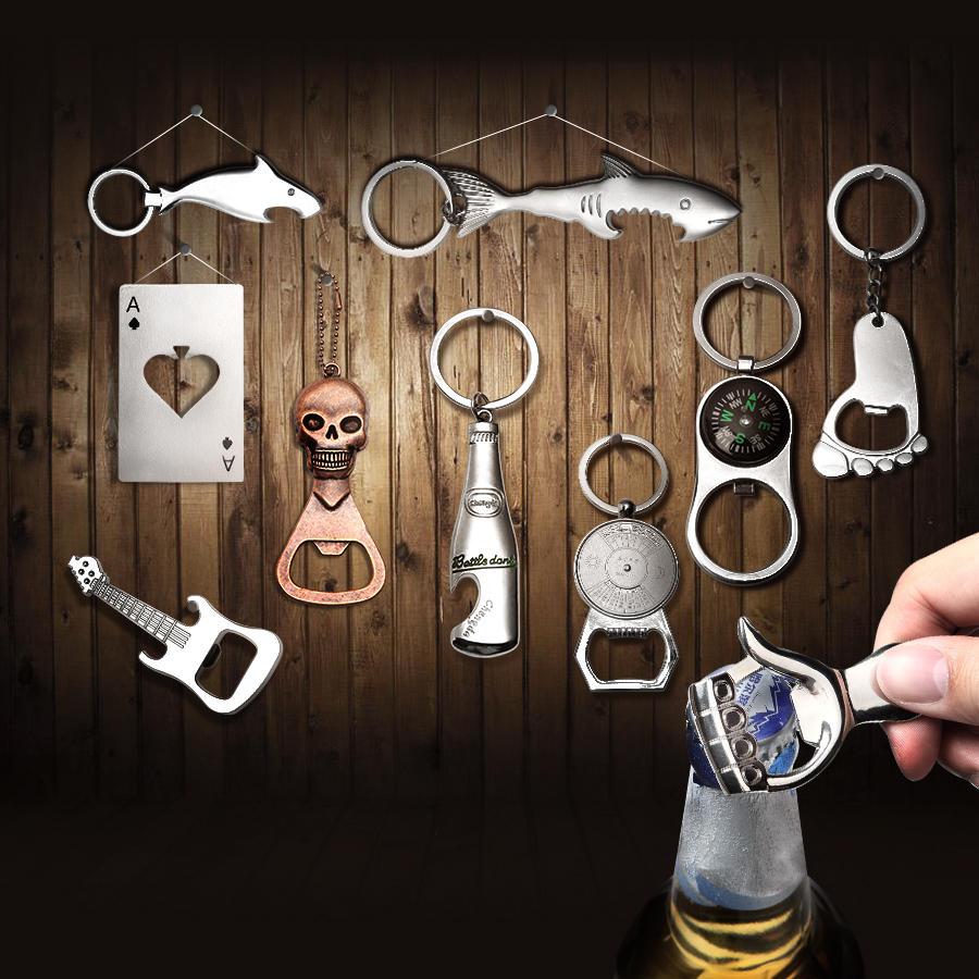 KCASA KC-SCO2 Multi-vorm Creatief Roestvrij Staal Bier Bottle Opener Draagbare Mini Sleutelhanger Ring