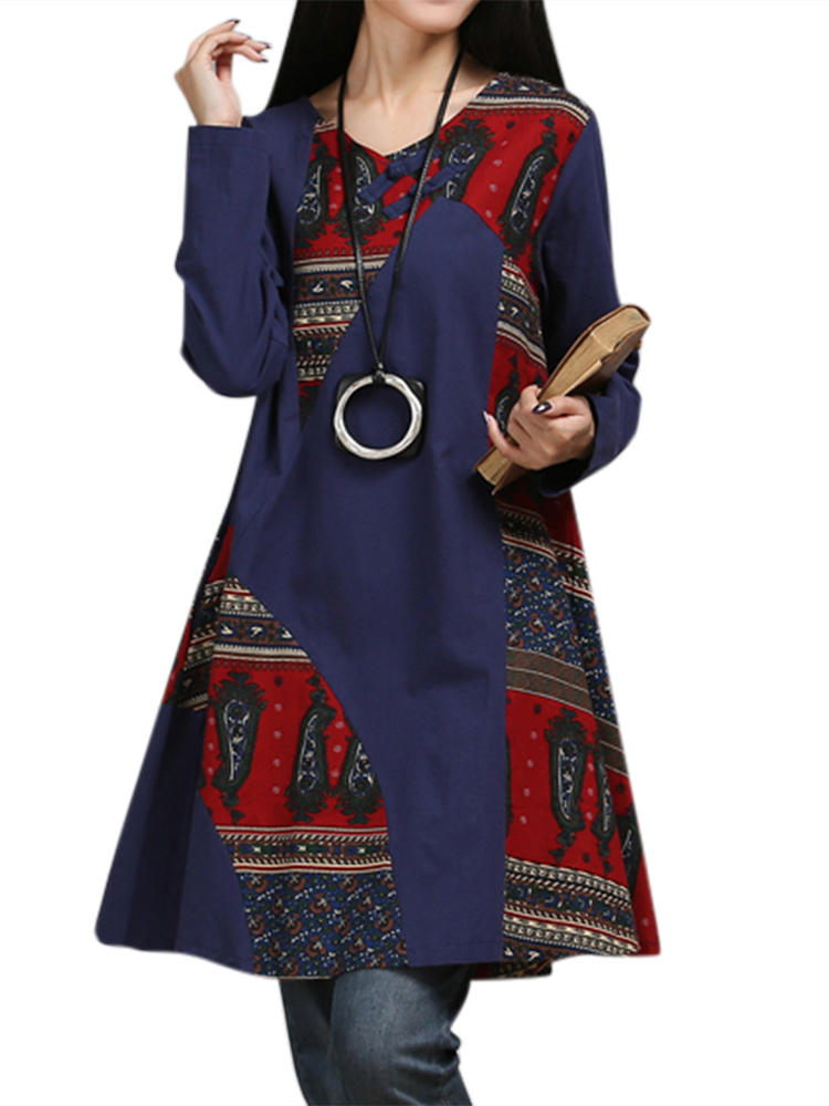 Vintage Women Ethnic Style Printed Patchwork Long Sleeve A-Line Dress