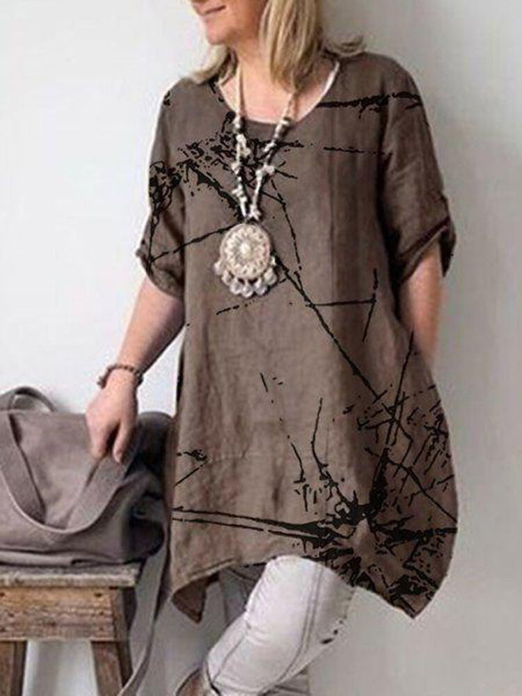 Solid Color Short Sleeve Cotton Casual Shirt Dress