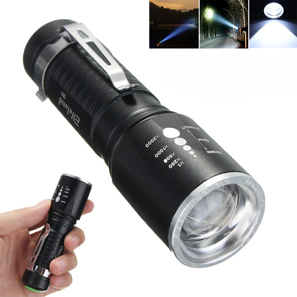 Elfeland 1201 T6 2000LM 5modes Zoomable LED Flashlight 18650 / AAA