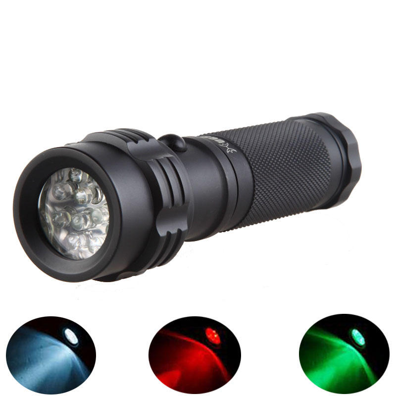 Hugsby LE-T11 11xLEDs 250Lm 3Colors Dimming IPX6 Camping Hunting Portable EDC LED Flashlight