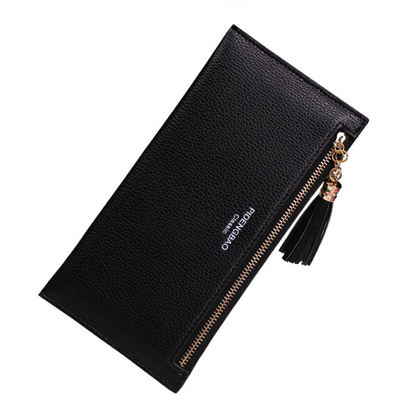 Mulheres PU Leather Horizontal Lightweight Tassel Card Holder Coin Pursue Wallet