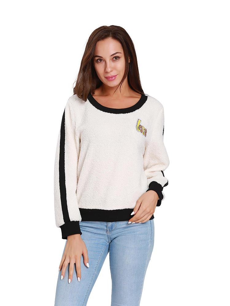Women Fleece Love Letter Patchwork Long Sleeve Crew Neck Sweatshirt