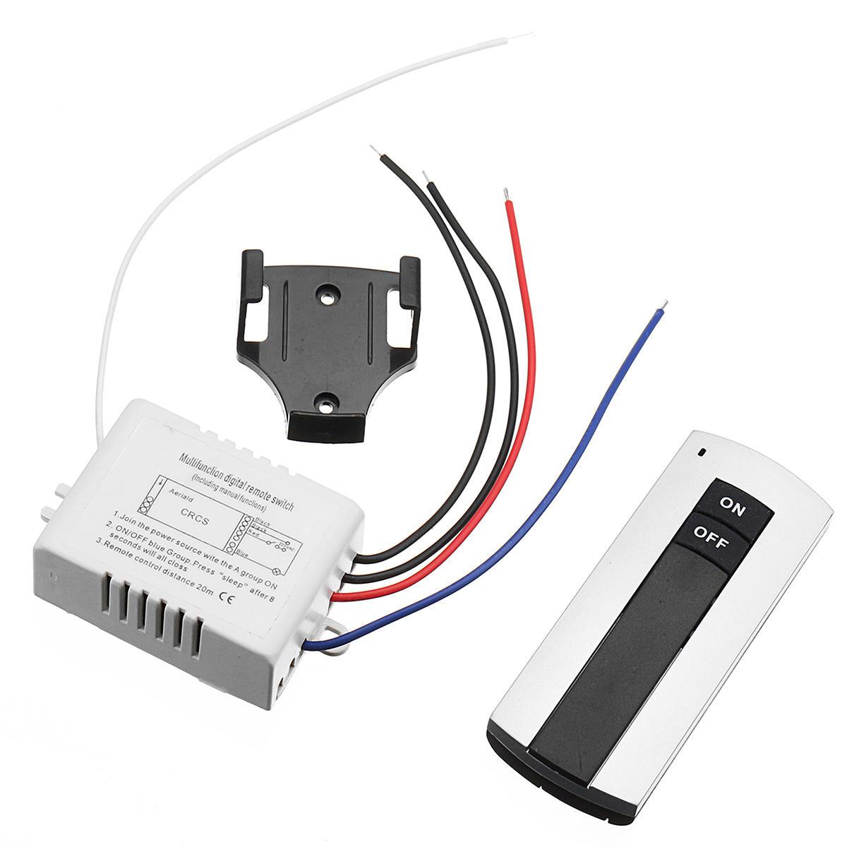 AC 110V / 220V 1 Voie ON / OFF Lampe Interrupteur Numérique Lumière Double Bouton Télécommande Sans Fil Interrupteur