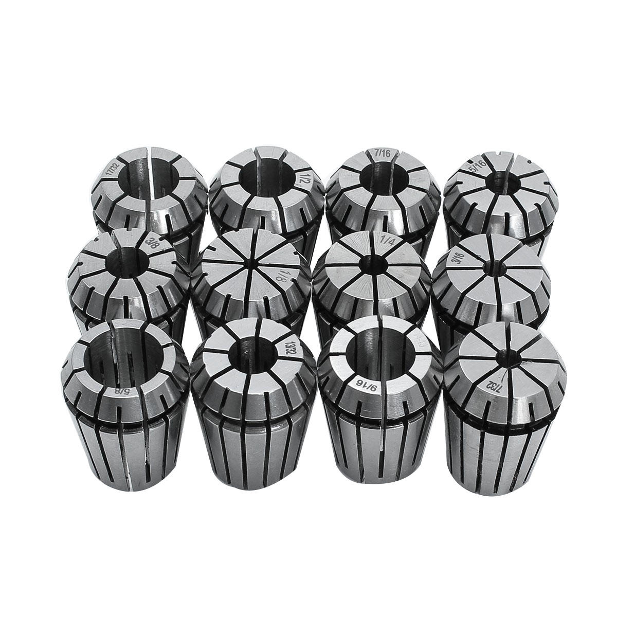 12pcs ER16 Spring Collet Set 1/32 to 3/8 Inch Chuck Collet For CNC Milling Lathe Tool