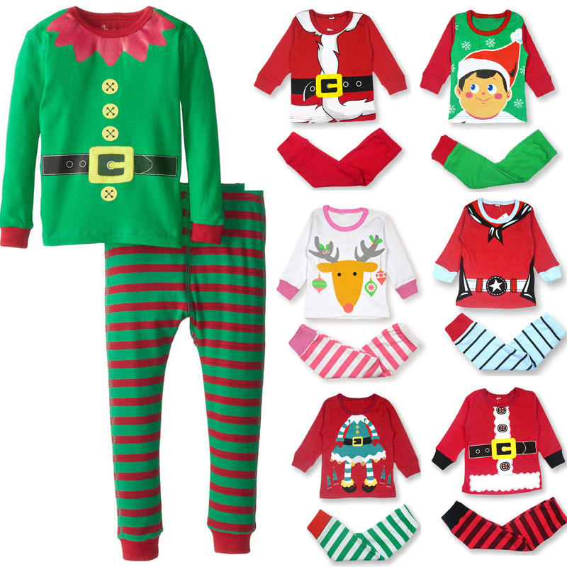 Winter Christmas Baby Kids Children Cotton Toddlers Xmas Santa Gifts Suit Nightwear Pajamas Sleep Bed Clothes
