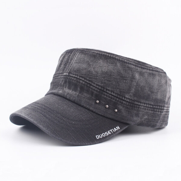 Mens Washed Cotton Vintage  Flat Hats Outdoor Sport Army Hat Adjustable Baseball Caps
