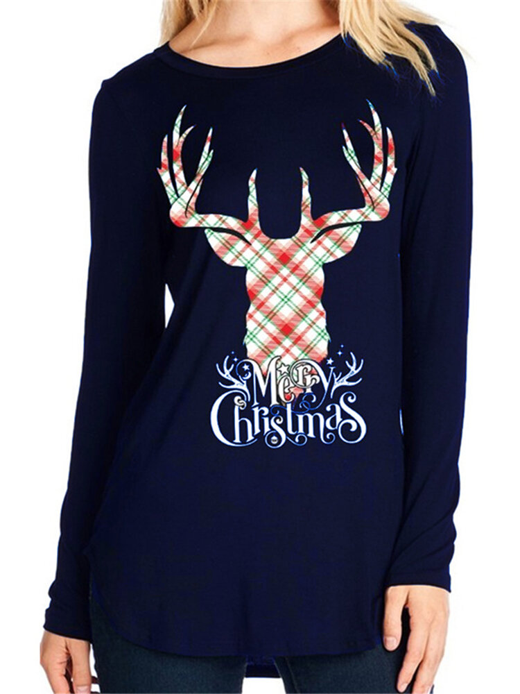 Casual Women Elk Letter Animals Printed Loose Long Sleeve O-Neck T-Shirts