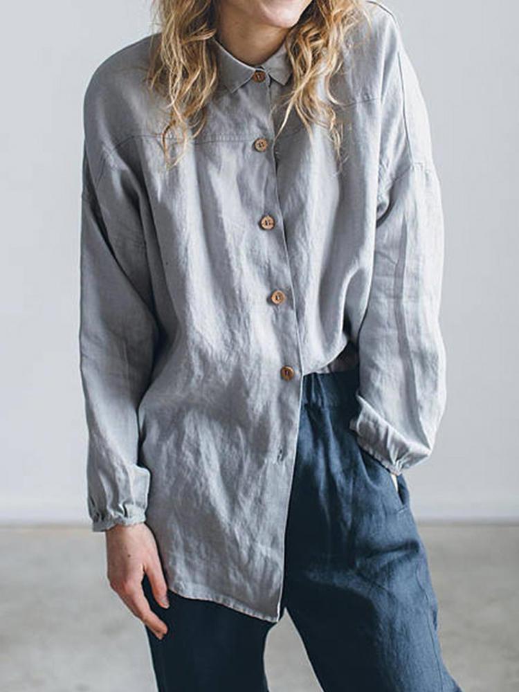 Women Lapel Button Down Solid Color Shirts