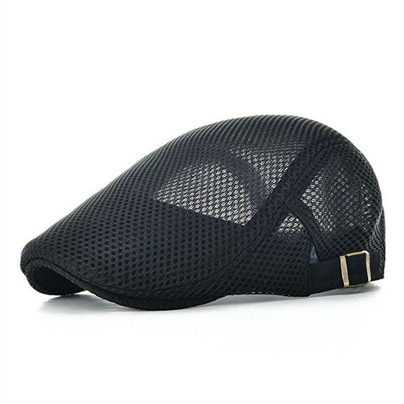 Men Leisure Mesh Breathable Beret Hat Outdoor Sport Solid Newsboy Cabbie Flat Cap Visor
