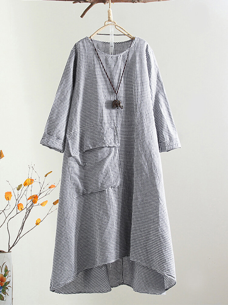 Plus Size Plaid Round Neck Front Pocket Women Dress