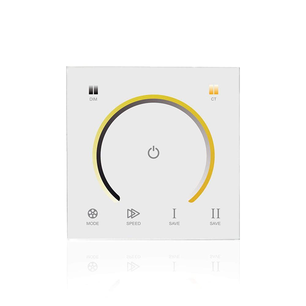 LUSTREON DC12-24V 3CH Touch Panel Light Switch CCT Color Temperature Dimmer Controller for LED Strip