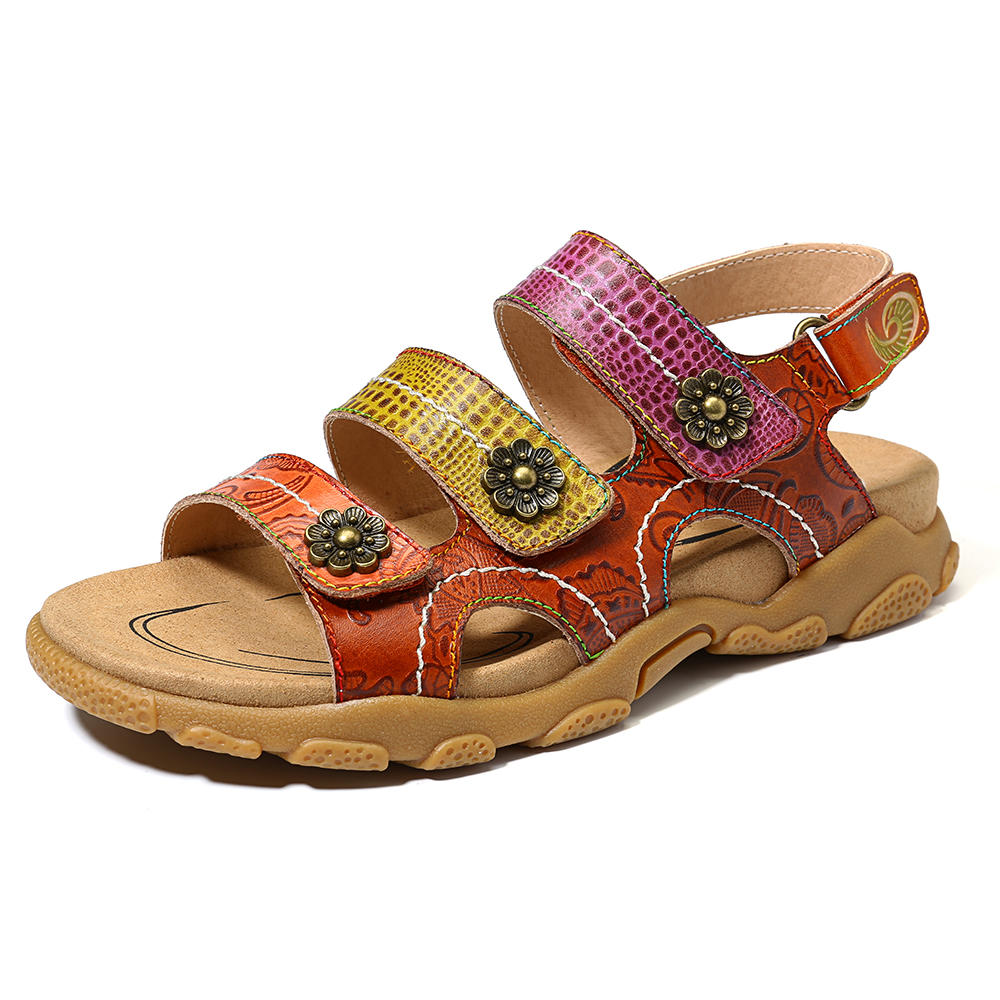 SOCOFY Bohemian Soft Genuine Leather Buckle Casual Sandals